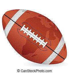 world map football ball