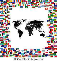 World map framed with world flags