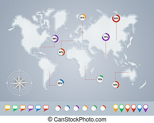 World map, geo infographics template EPS10 file.