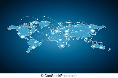World Map - Global Connection - Vector illustration. World ...