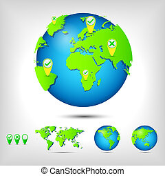 World globe map positioning pin app vector logo icon eps vector world map globe gumiabroncs Image collections