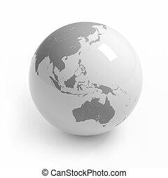 World map globe on white