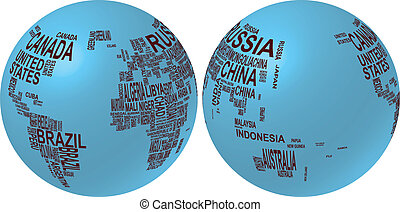 world map globe with country name