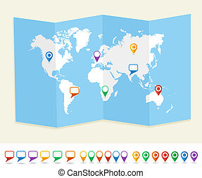 World map GPS location pins travel concept EPS10 vector file.