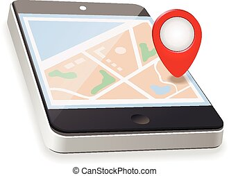 World Map. GPS Navigation. Mobile Phone  Technologies Concept.