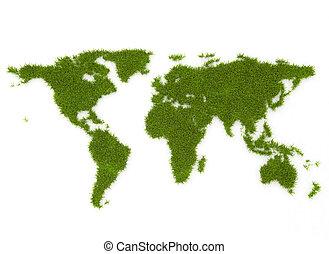 World map green grass