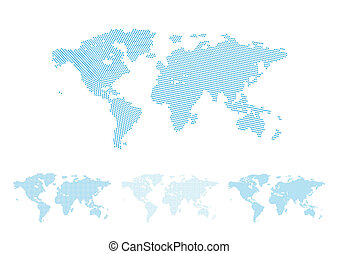 World map halftone set, four different versions with perfect...