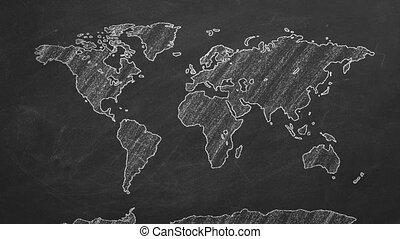 World map hand drawn chalk. Sketch on a blackboard.