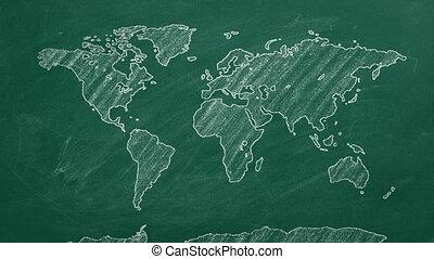 World map hand drawn chalk. Sketch on a chalkboard.