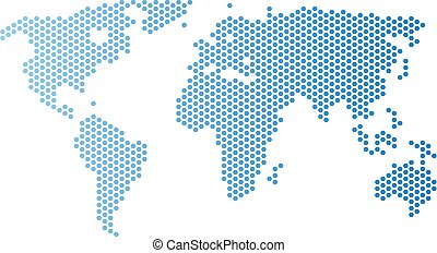 Honeycomb world map. Vector territorial scheme in light blue color with horizontal gradient. Abstract world map mosaic is formed from hexagon elements.