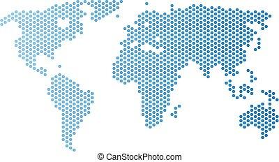 World Map Hex Tile Mosaic - Honeycomb world map. Vector ...
