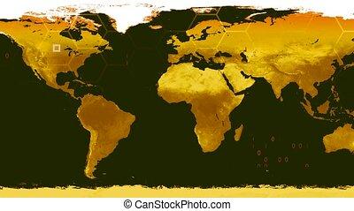 World map high tech digital satellite data view war room 4K