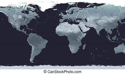 World map high tech digital satellite data view war room