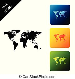 World map icon isolated on white background. Set icons colorful square buttons. Vector Illustration