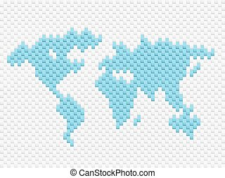World map illustration on white background.