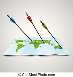 World map in 3D with arrows, vector