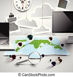 World map in 3D with office tools, cloudy, vector