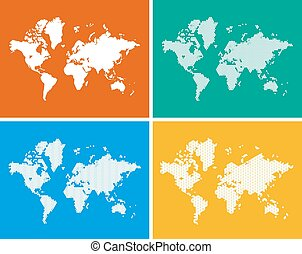 World Map in 4 Styles