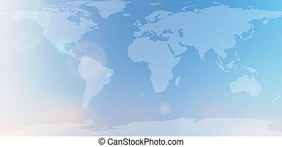 world map in blurred background sky abstract