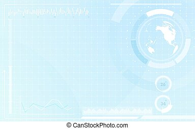 World map in circle interface virtual future with futuristic graphics technology concept on blue background