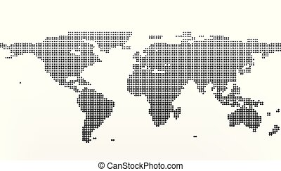 Black halftone world map of small dots in linear vector search world map in dots earth business concept in flat style isolated on white gumiabroncs Gallery