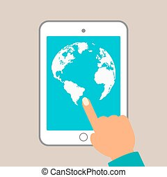 World map in dots. tablet in hands