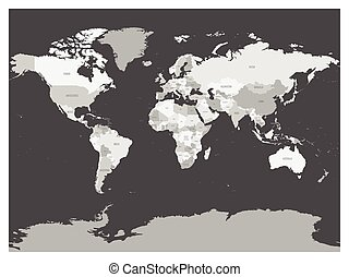 World map in four shades of grey on dark background. High detail blank political map. Vector illustration