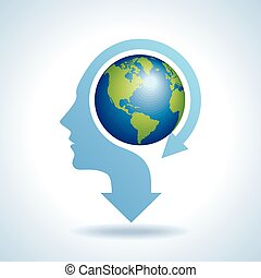 world map in human head