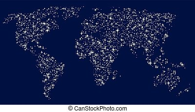 World map in the form of glittering stars in the sky.