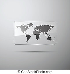 World map in the glass