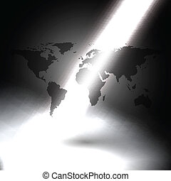 world map in the rays of light on gray background