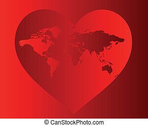 world map in the red heart
