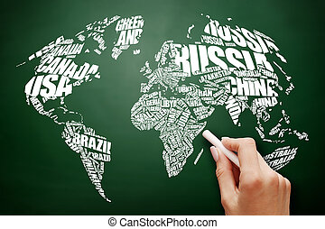 World Map in Typography word cloud concept