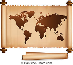 World map in vintage pattern