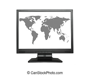 World map in wide LCD screen, NO COPYRIGHT INFRINGEMENT
