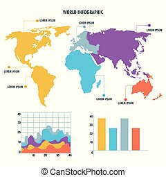world map infographic information report network