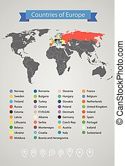 World map infographic template. Countries of Europe