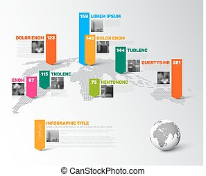 World map infographic template with photos