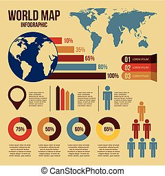 world map infographics and information graphics detail