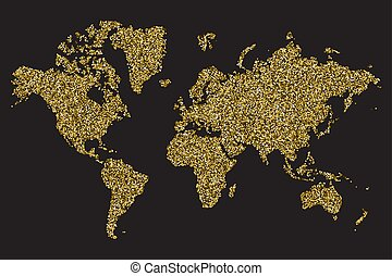 World map isolated on black background, gold glitter texture, vector illustration