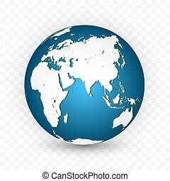 World Map Isolated on White Background in Bright Blue Color. Earth globe. World map set. Vector Illustration