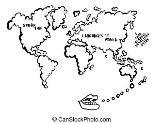 Bubble depicting a world map with white plane delivery concept in language learning map with mouth speaking cartoon the map is a speech bubble world publicscrutiny Gallery
