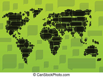 World map made of black cloud speech bubbles in ecology concept illustration background vector