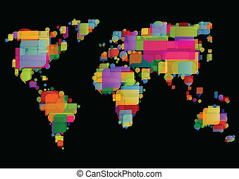 World map made of colorful speech bubbles
