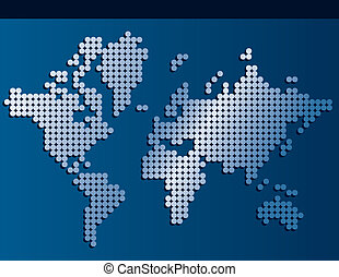 World map made of dots with banner background space for text