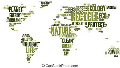 World map made of eco words - Word cloud in a shape of world...