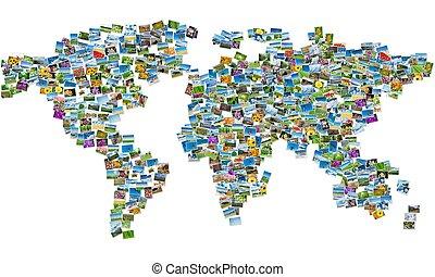 World map made of nature photos