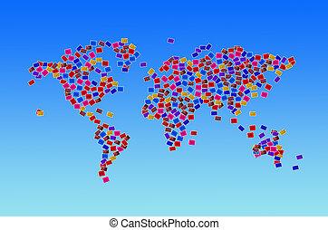 World map made of several photos