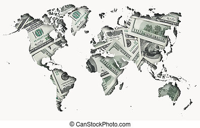 world map made with one hundred dollars background