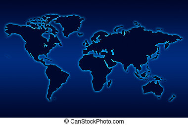 Map of world in black like nigh with blue background